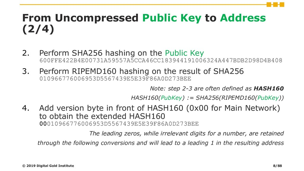 From Uncompressed Public Key to Address (2/4) ©...