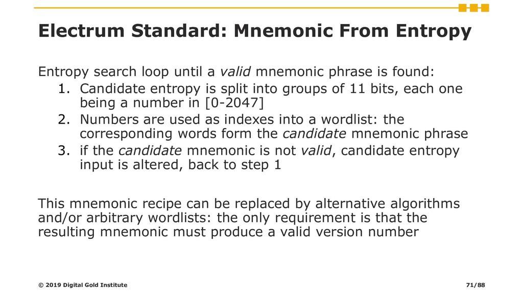 Electrum Standard: Mnemonic From Entropy Entrop...