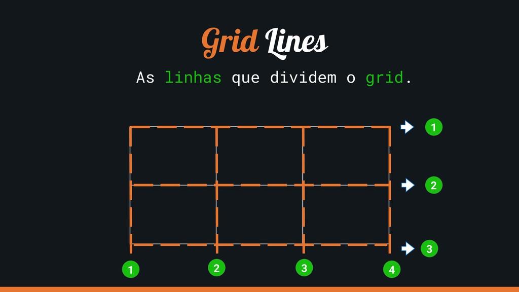 Grid Lines As linhas que dividem o grid. 1 3 4 ...