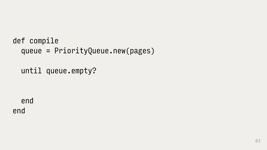 83 def compile queue = PriorityQueue.new(pages)...