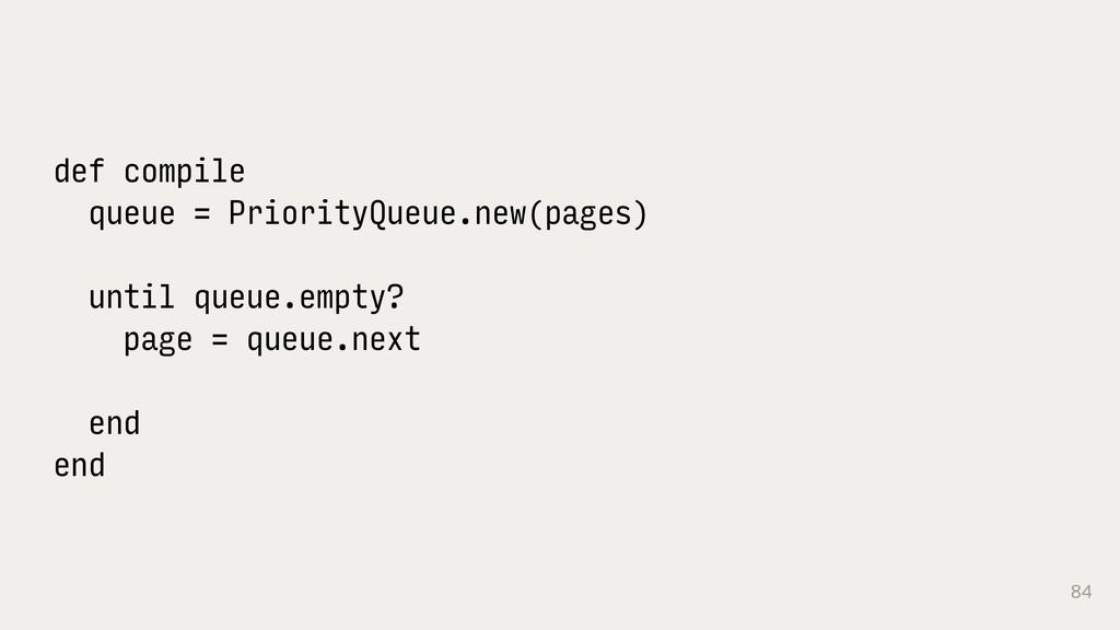 84 def compile queue = PriorityQueue.new(pages)...
