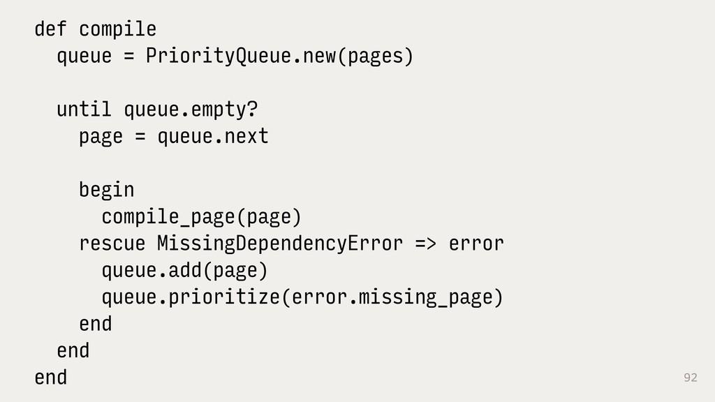92 def compile queue = PriorityQueue.new(pages)...