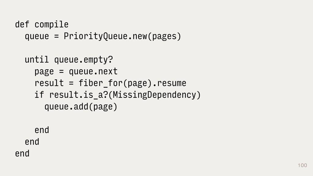 100 def compile queue = PriorityQueue.new(pages...