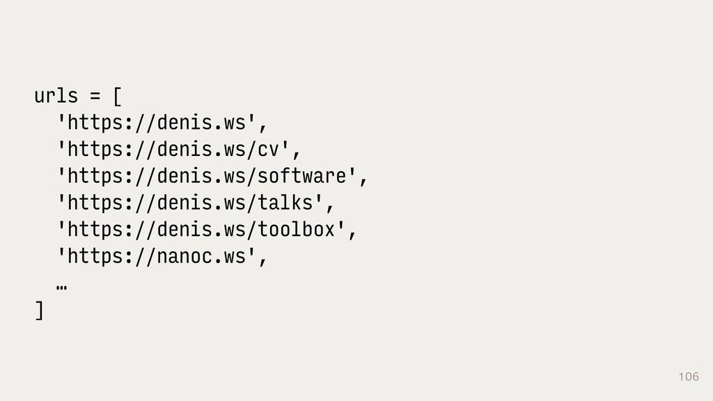 106 urls = [ 'https://denis.ws', 'https://denis...