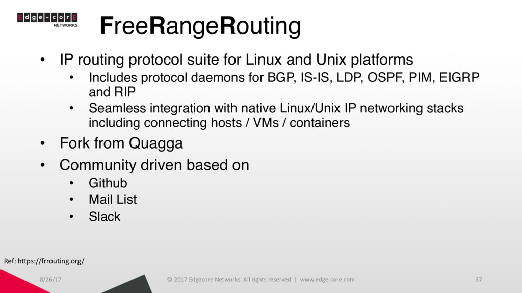 FreeRangeRouting • IP routing protocol suite fo...
