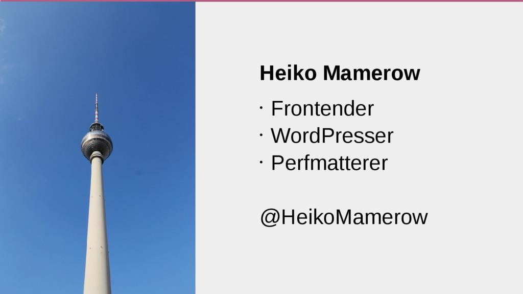 Heiko Mamerow • Frontender • WordPresser • Perf...