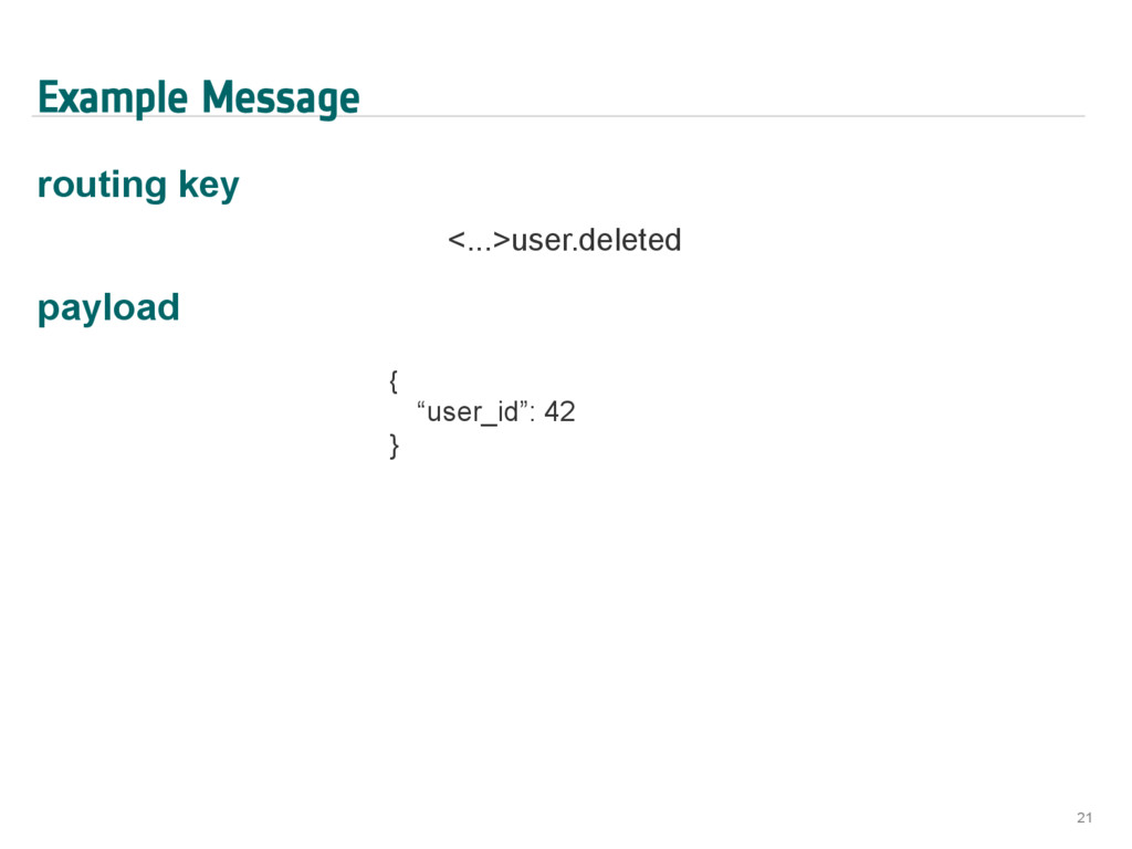 Example Message routing key <...>user.deleted p...
