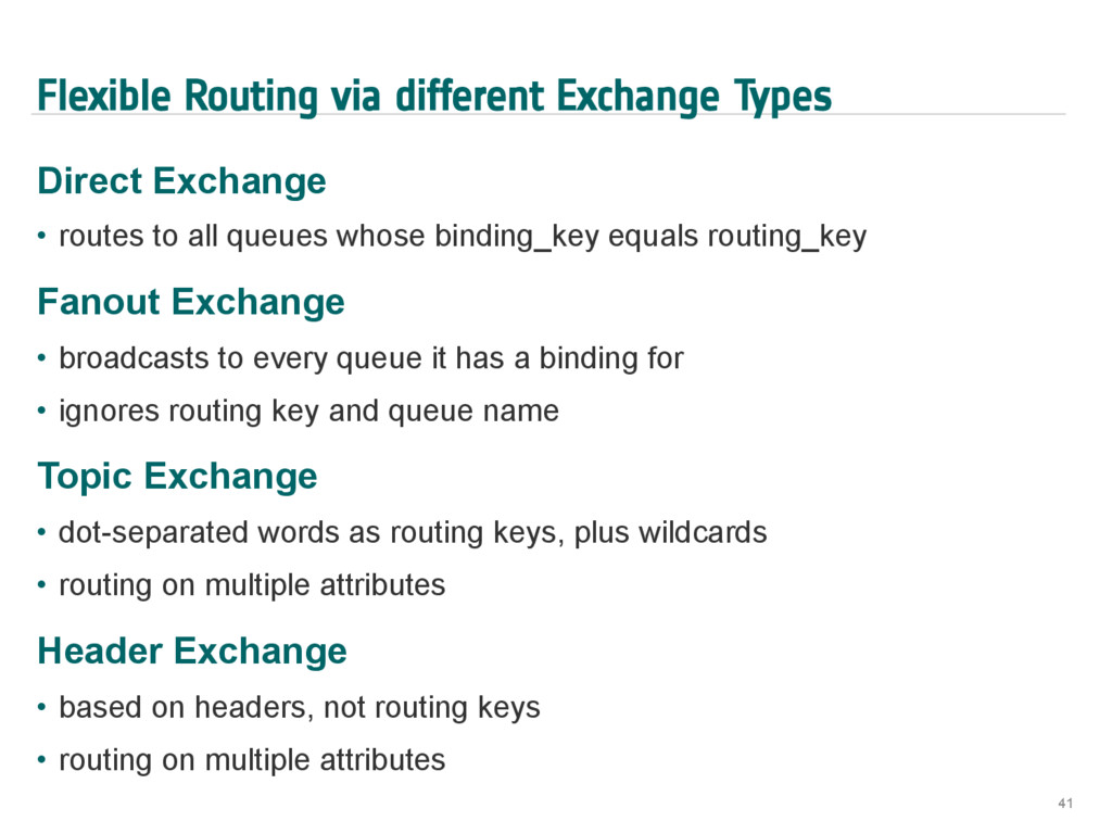 Flexible Routing via different Exchange Types D...