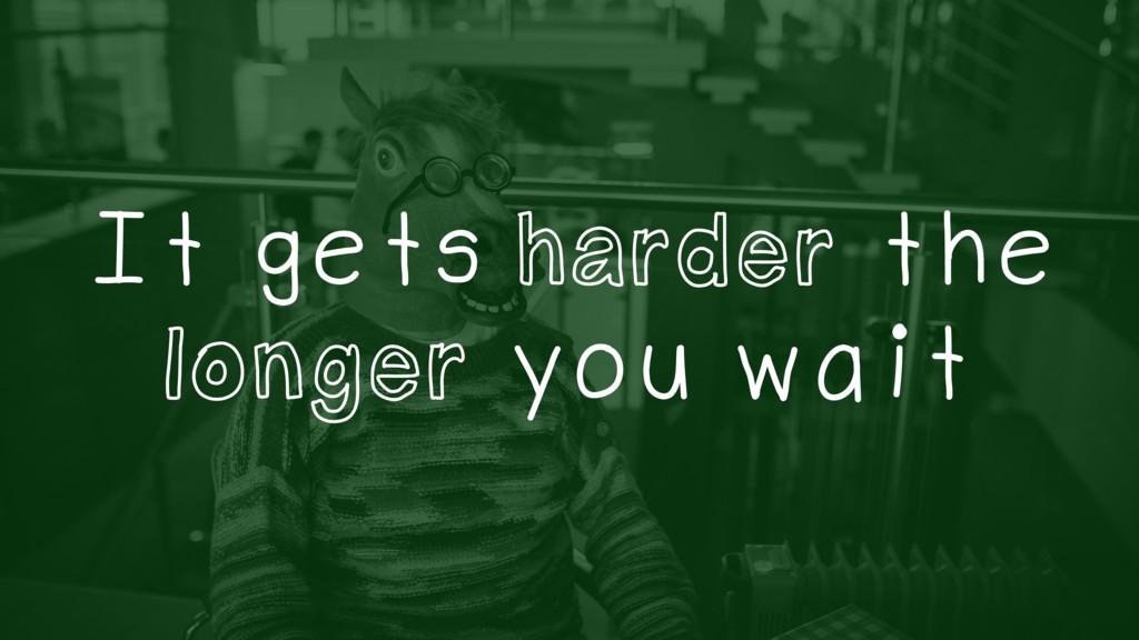 It gets harder the longer you wait