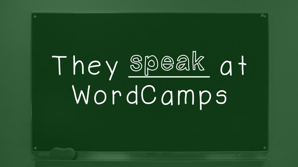 They _________ at WordCamps speak