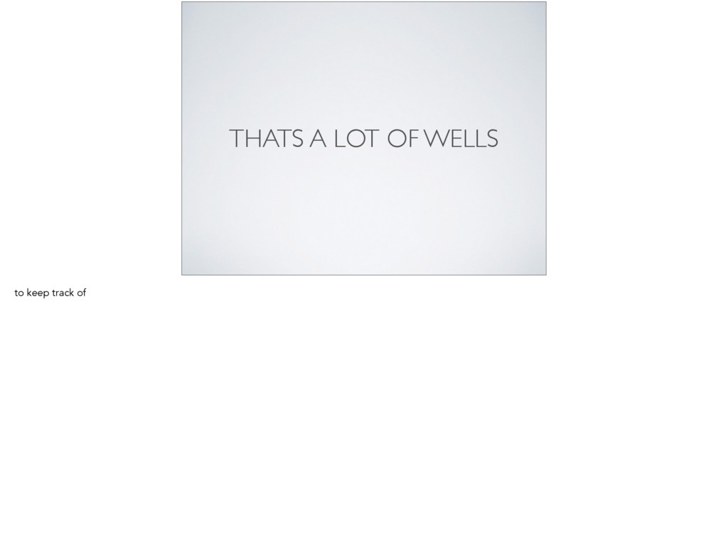 THATS A LOT OF WELLS to keep track of