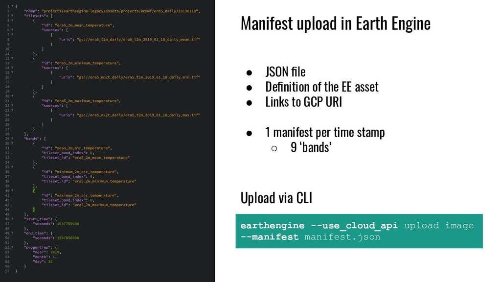 Manifest upload in Earth Engine ● JSON file ● De...