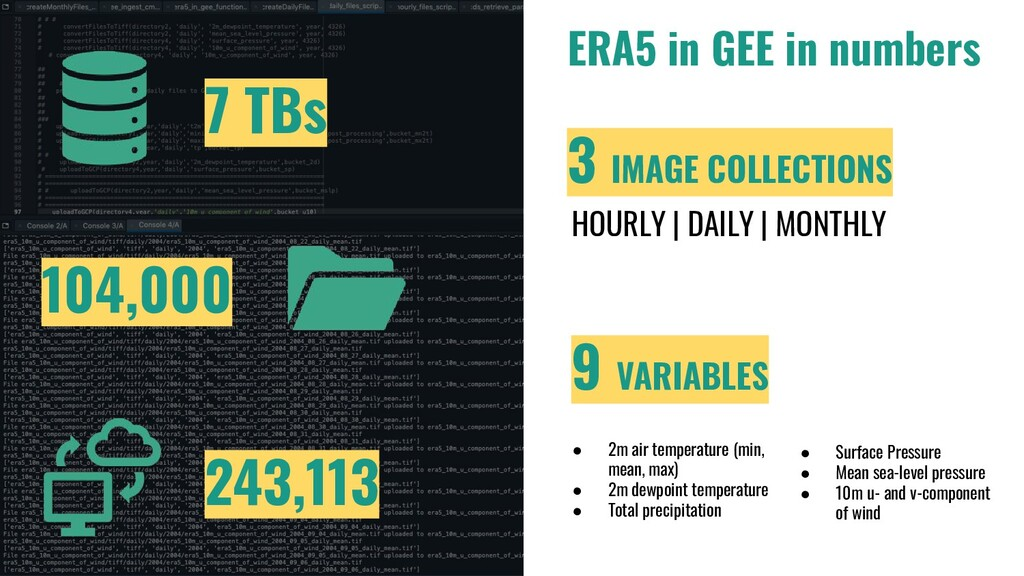 ERA5 in GEE in numbers 7 TBs 104,000 243,113 3 ...