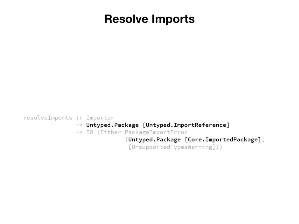 Resolve Imports resolveImports :: Importer -> U...