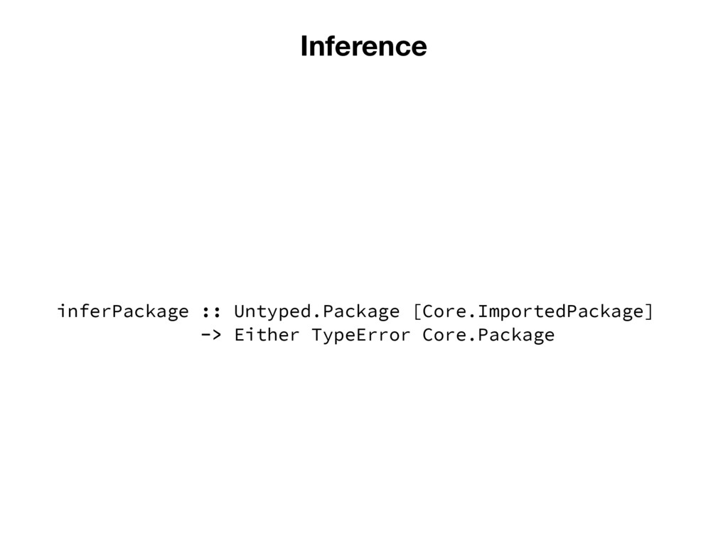 Inference inferPackage :: Untyped.Package [Core...