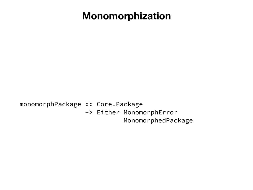 Monomorphization monomorphPackage :: Core.Packa...