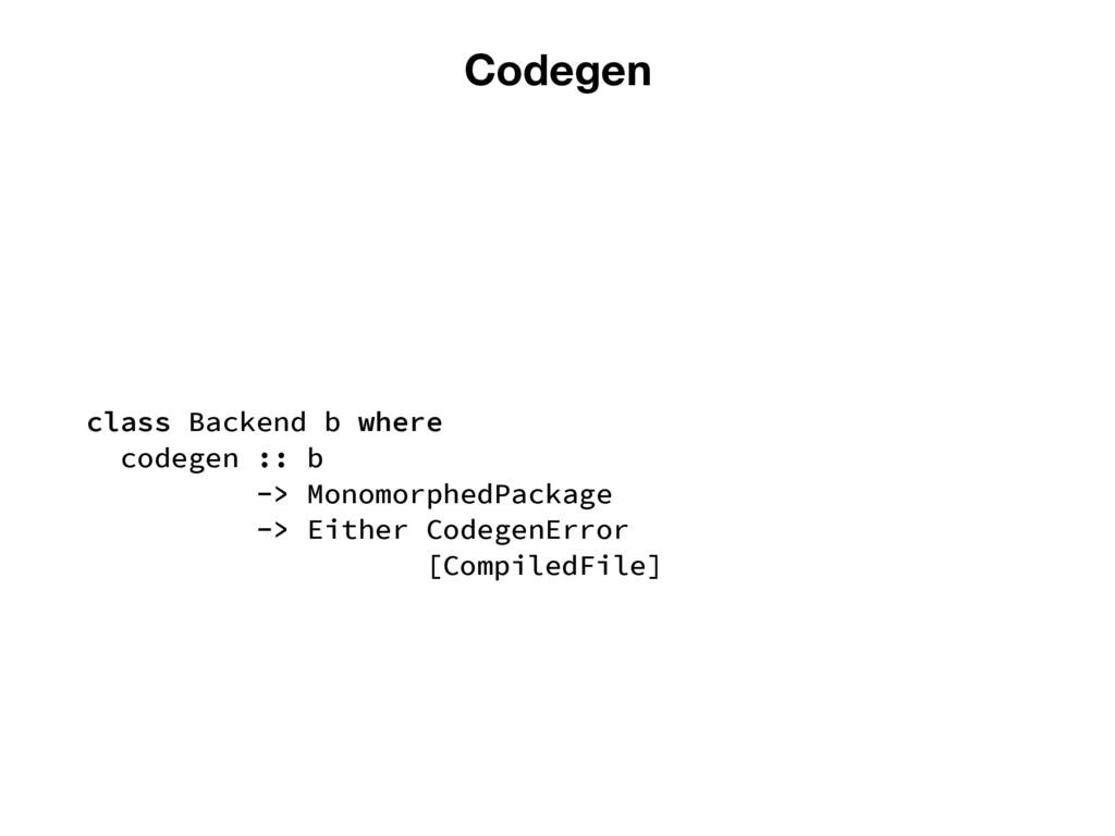 Codegen class Backend b where codegen :: b -> M...