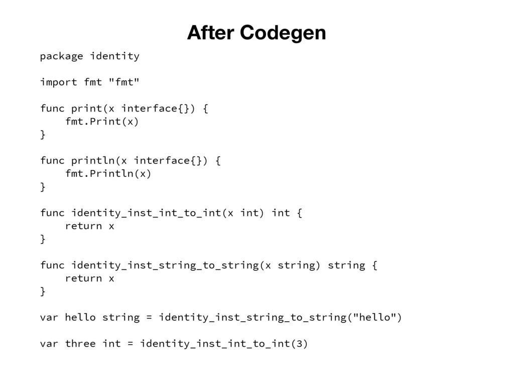 "After Codegen package identity import fmt ""fmt""..."