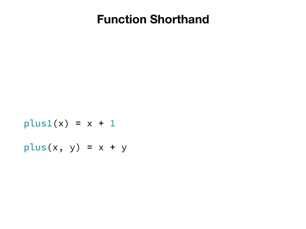 Function Shorthand plus1(x) = x + 1 plus(x, y) ...