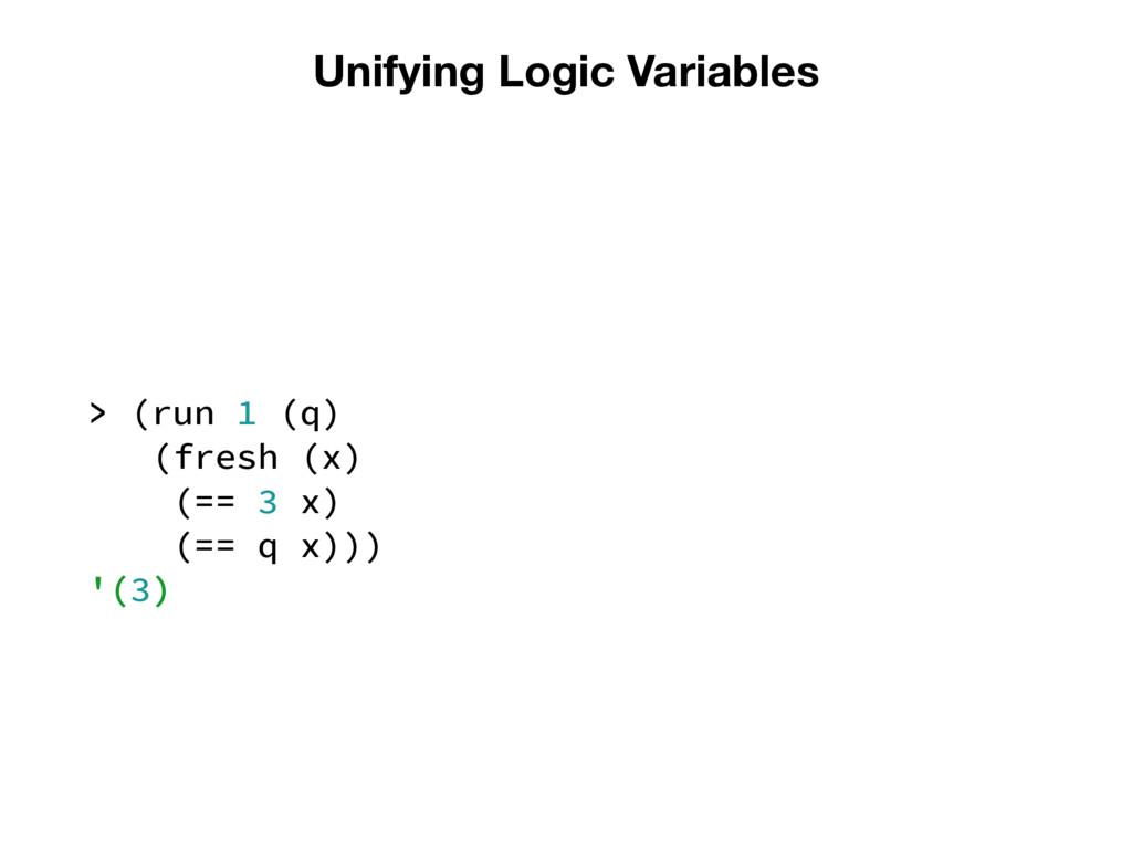 Unifying Logic Variables > (run 1 (q) (fresh (x...