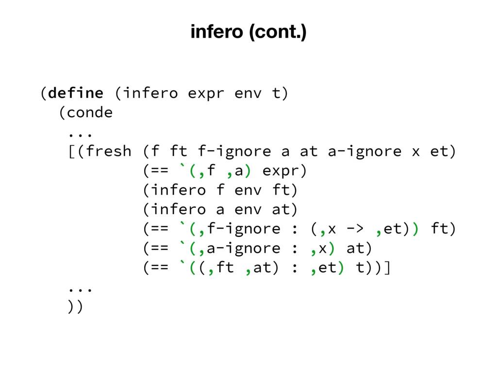 infero (cont.) (define (infero expr env t) (con...