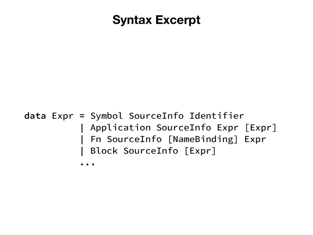 Syntax Excerpt data Expr = Symbol SourceInfo Id...