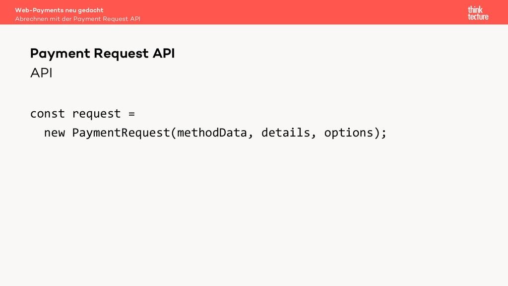 API const request = new PaymentRequest(methodDa...