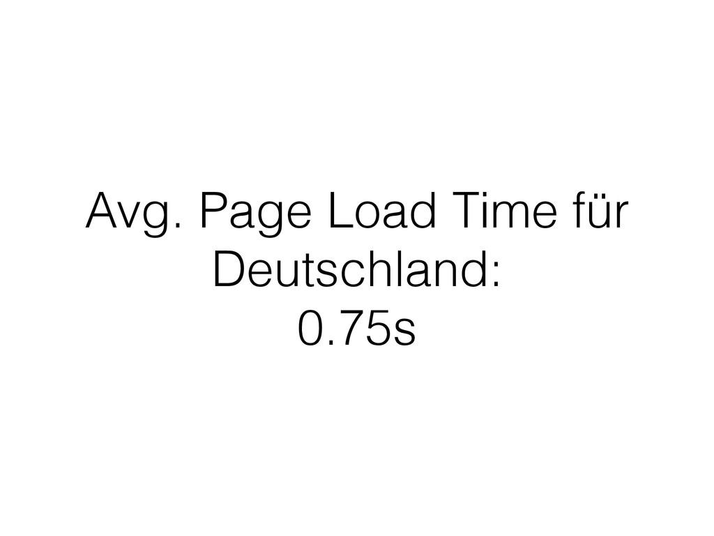 Avg. Page Load Time für Deutschland: 0.75s