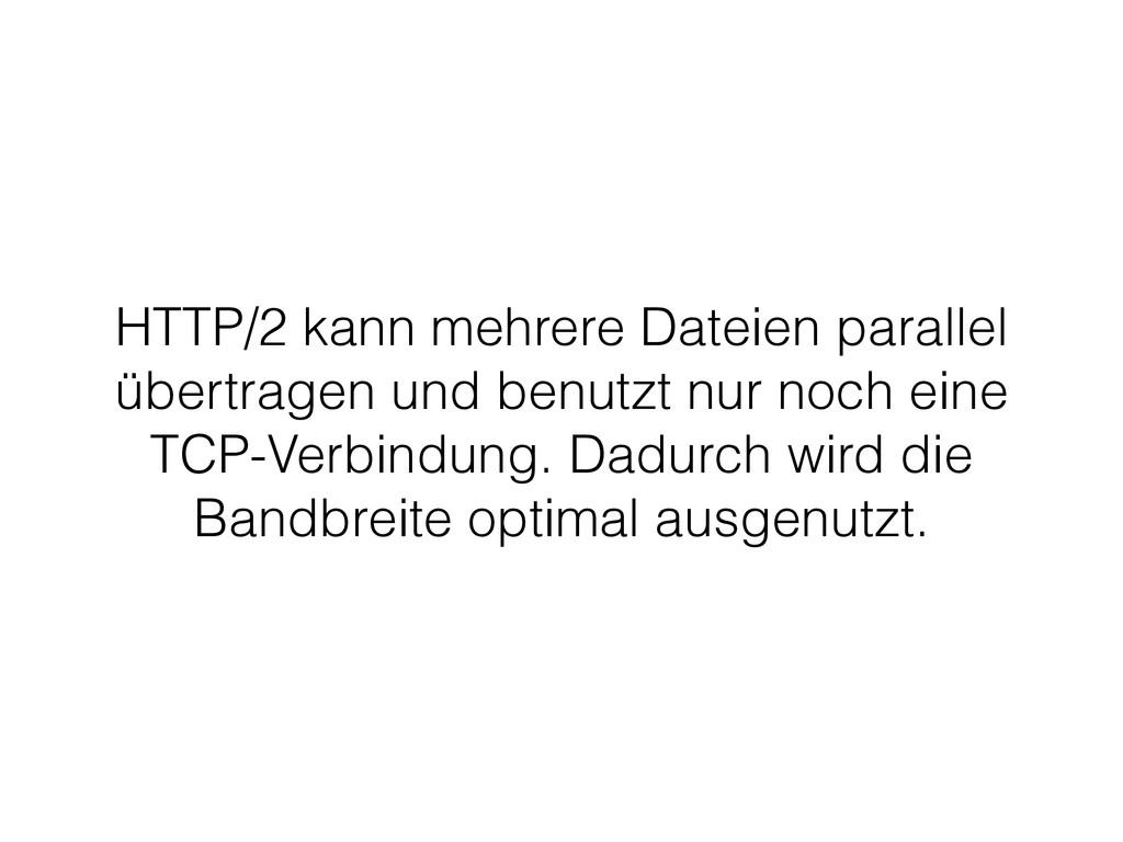 HTTP/2 kann mehrere Dateien parallel übertragen...