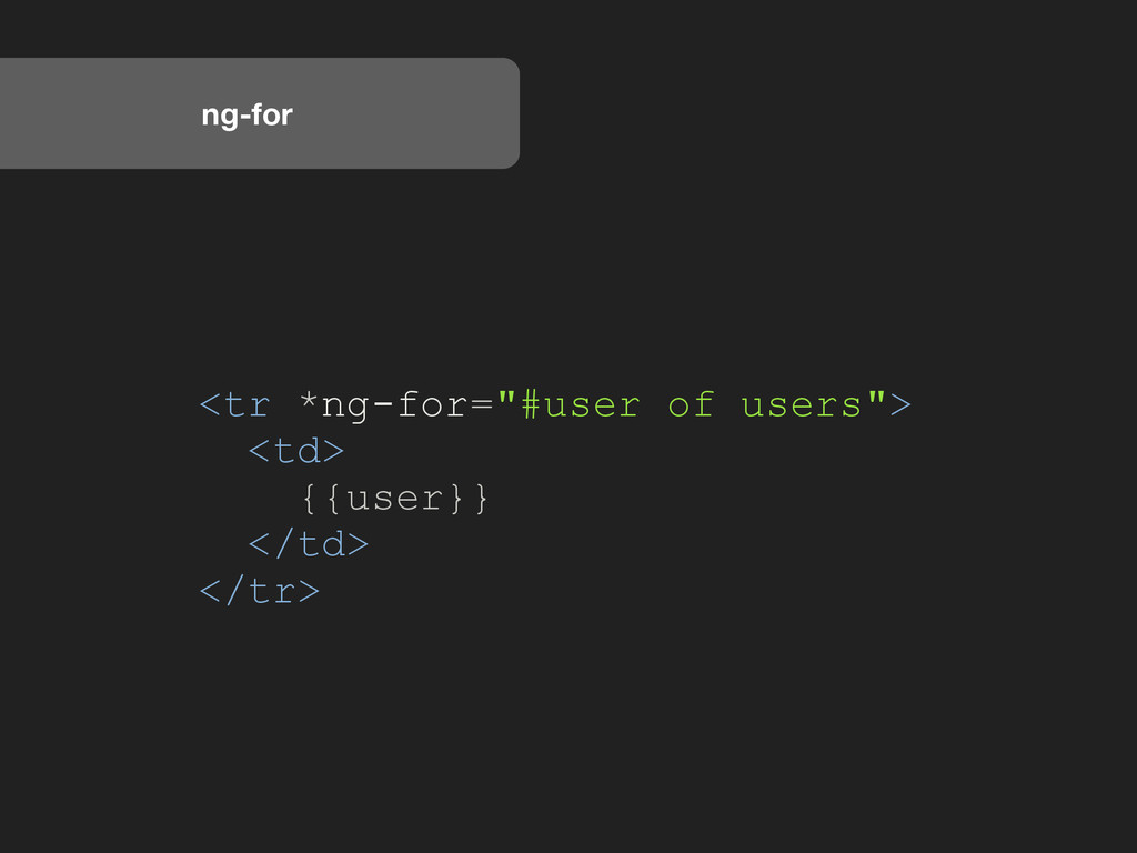 "ng-for <tr *ng-for=""#user of users""> <td> {{use..."