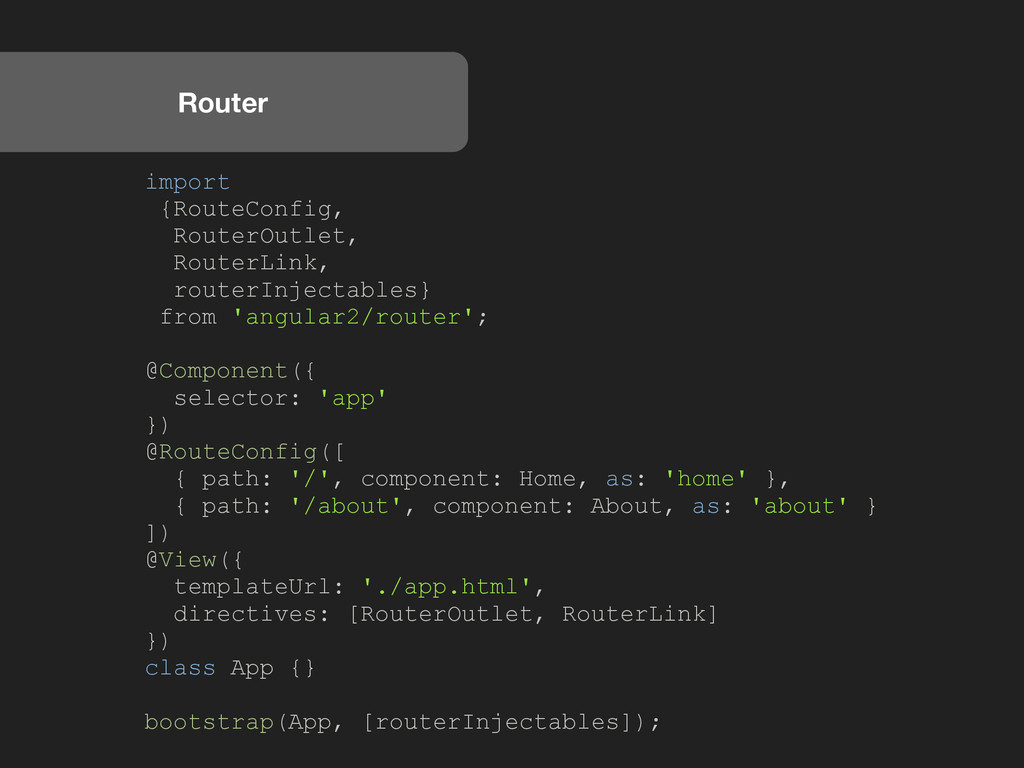 Router import {RouteConfig, RouterOutlet, Route...