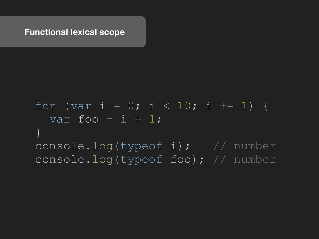 Functional lexical scope for (var i = 0; i < 10...