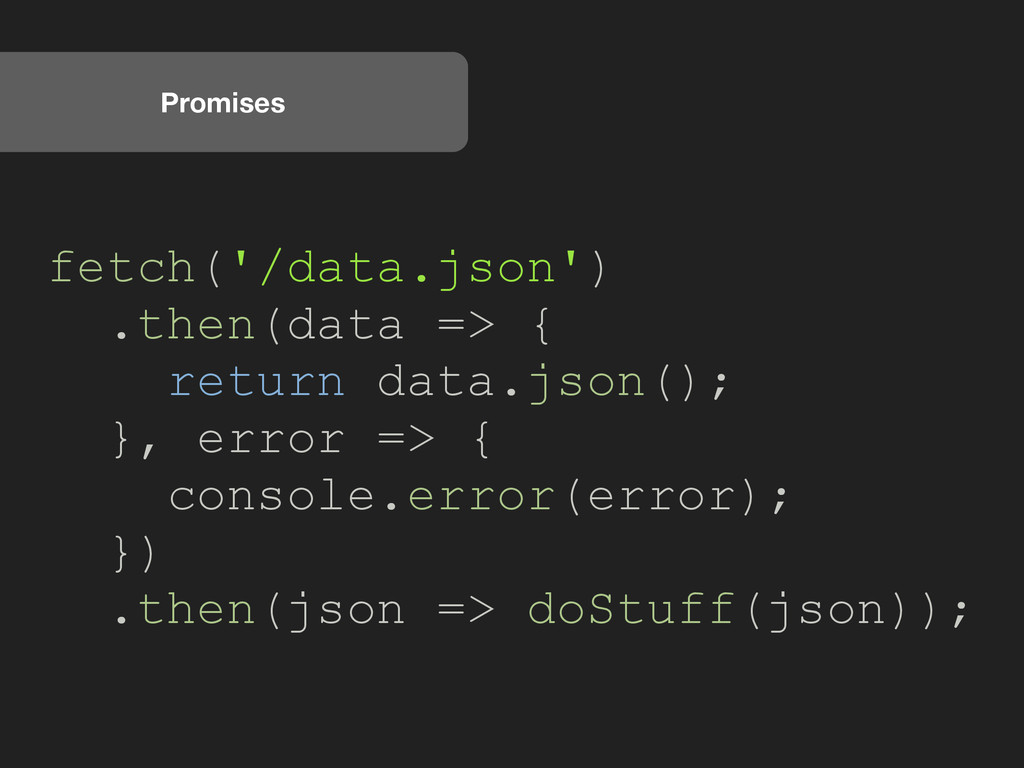 Promises fetch('/data.json') .then(data => { re...