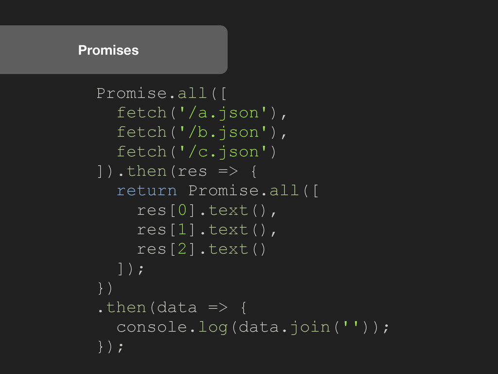 Promises Promise.all([ fetch('/a.json'), fetch(...