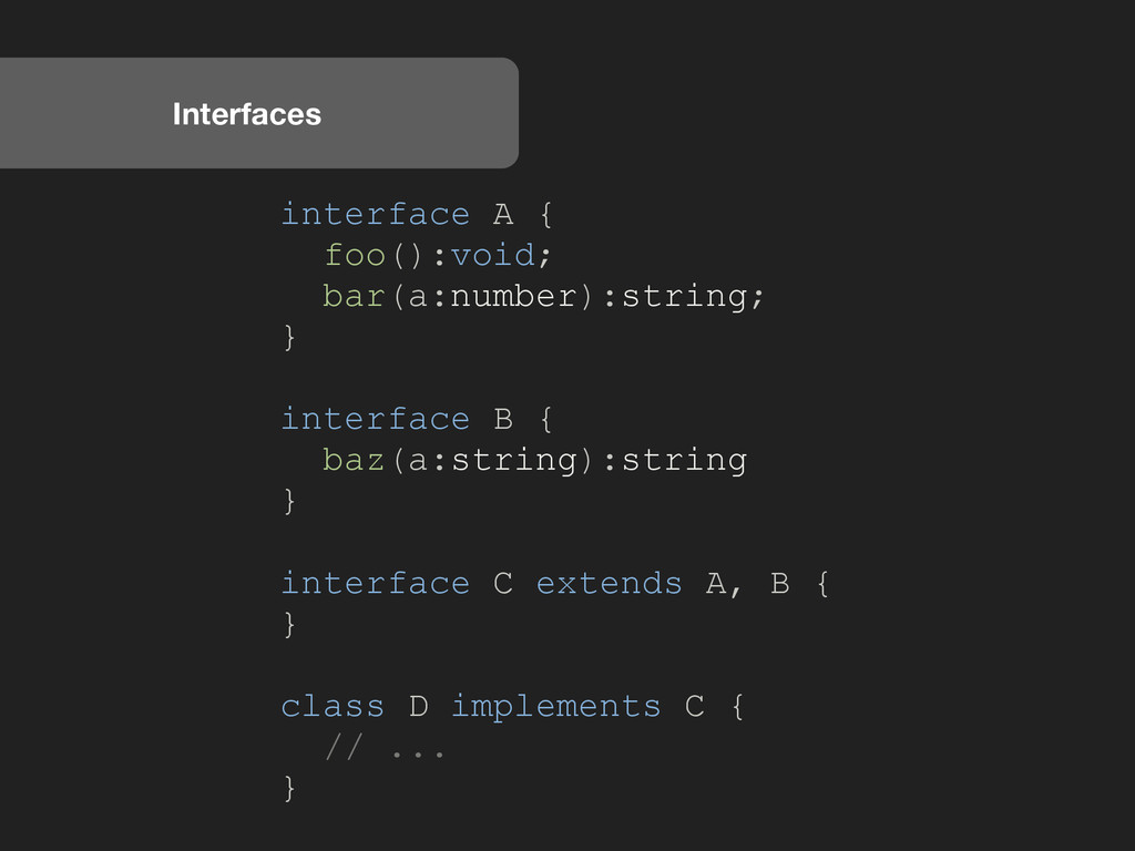 Interfaces interface A { foo():void; bar(a:numb...