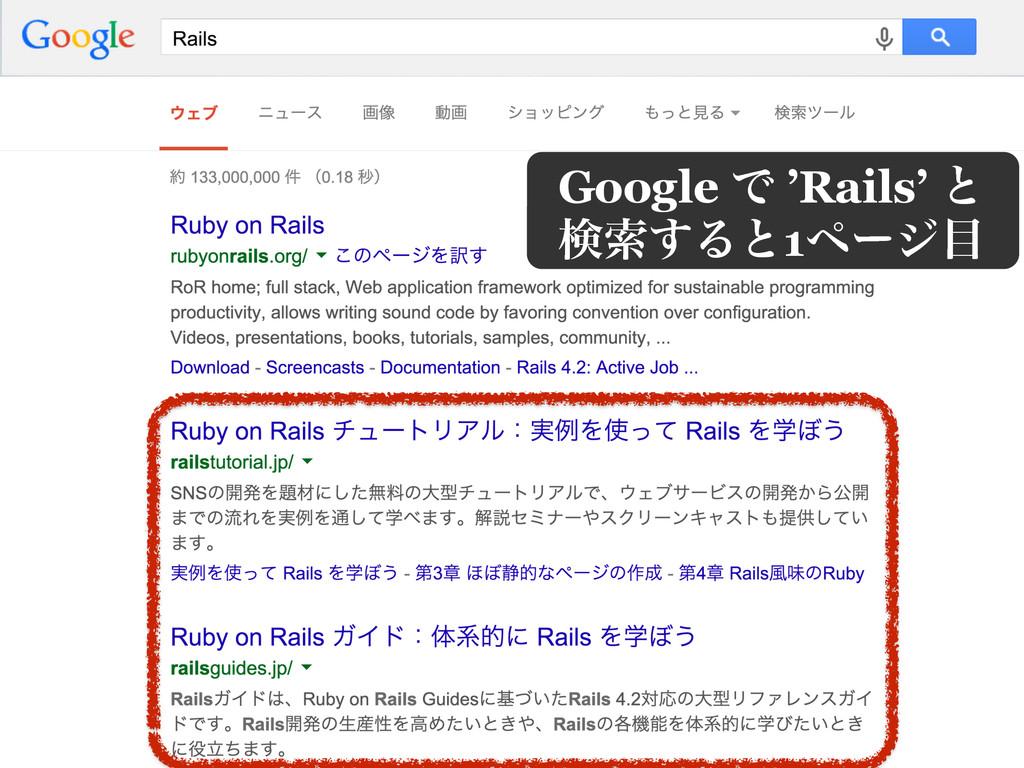 Google Ͱ 'Rails' ͱ ݕࡧ͢Δͱ1ϖʔδ