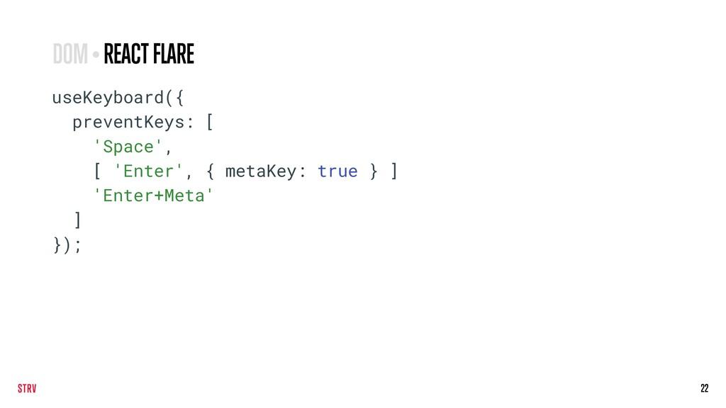 22 useKeyboard({ preventKeys: [ 'Space', [ 'Ent...