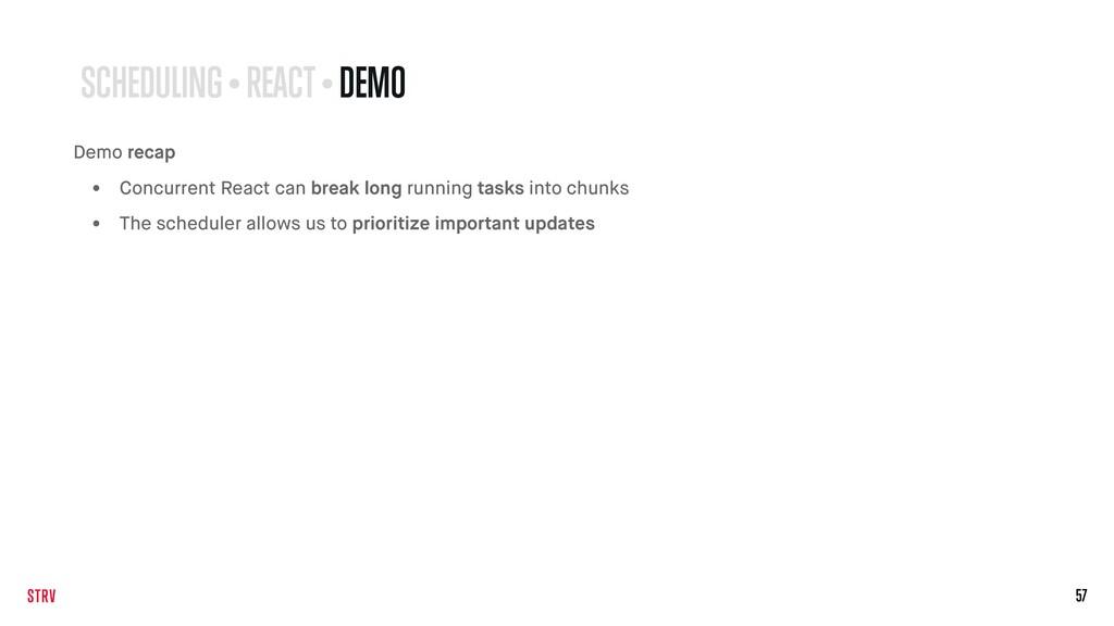 57 SCHEDULING • REACT • DEMO Demo recap • Concu...