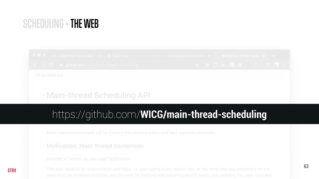63 SCHEDULING • THE WEB https://github.com/WICG...
