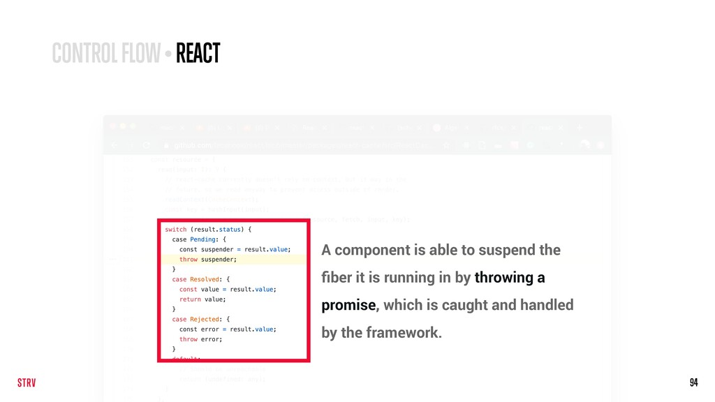 94 CONTROL FLOW • REACT A component is able to ...