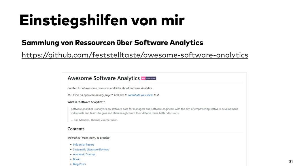 Sammlung von Ressourcen über Software Analytics...
