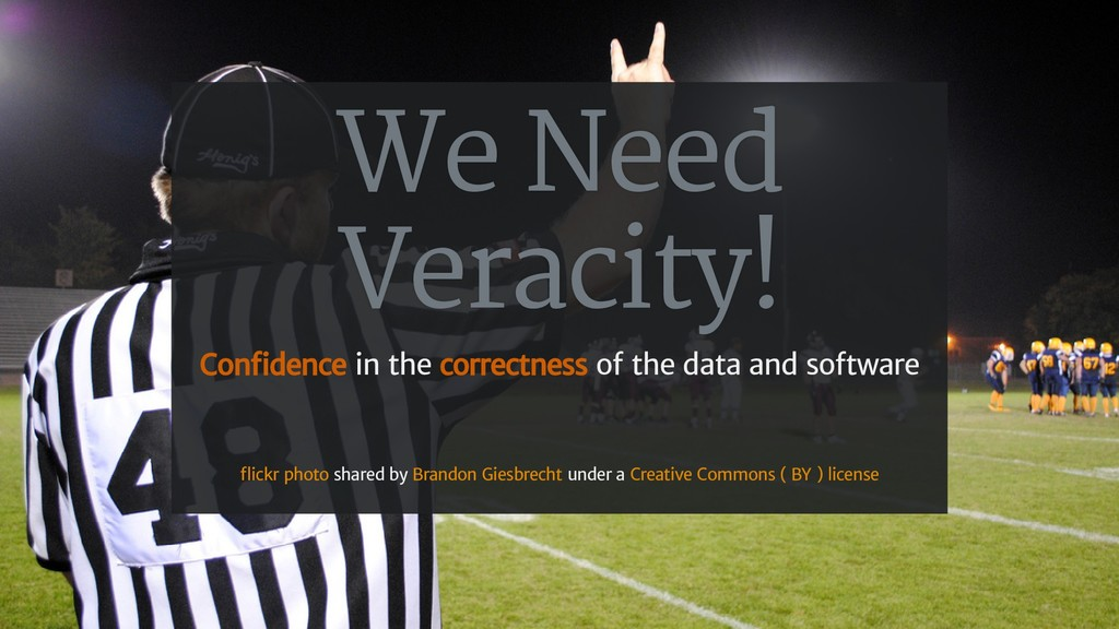 We Need Veracity! Con dence in the correctness ...