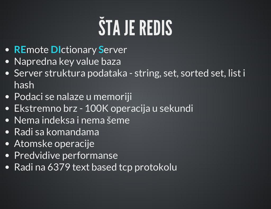 ŠTA JE REDIS REmote DIctionary Server Napredna ...