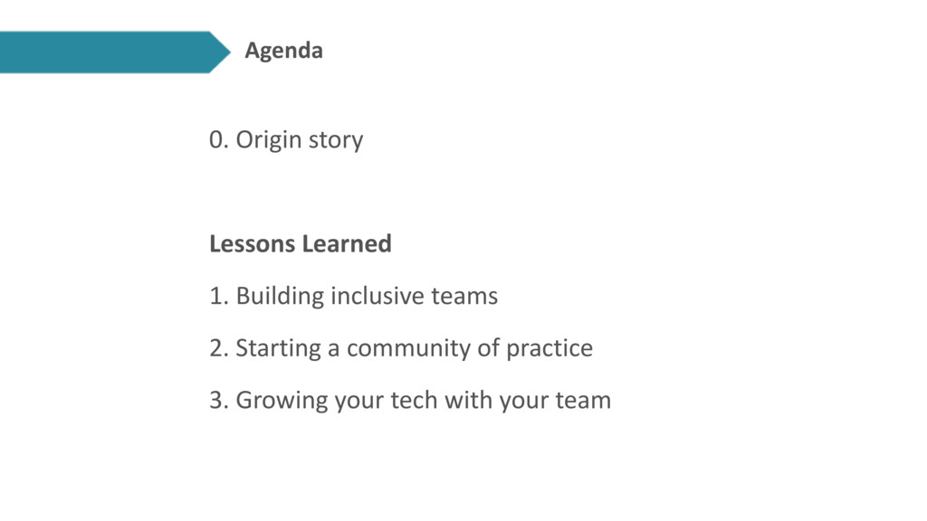 Agenda 0. Origin story Lessons Learned 1. Build...