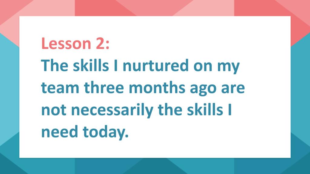 Lesson 2: The skills I nurtured on my team thre...