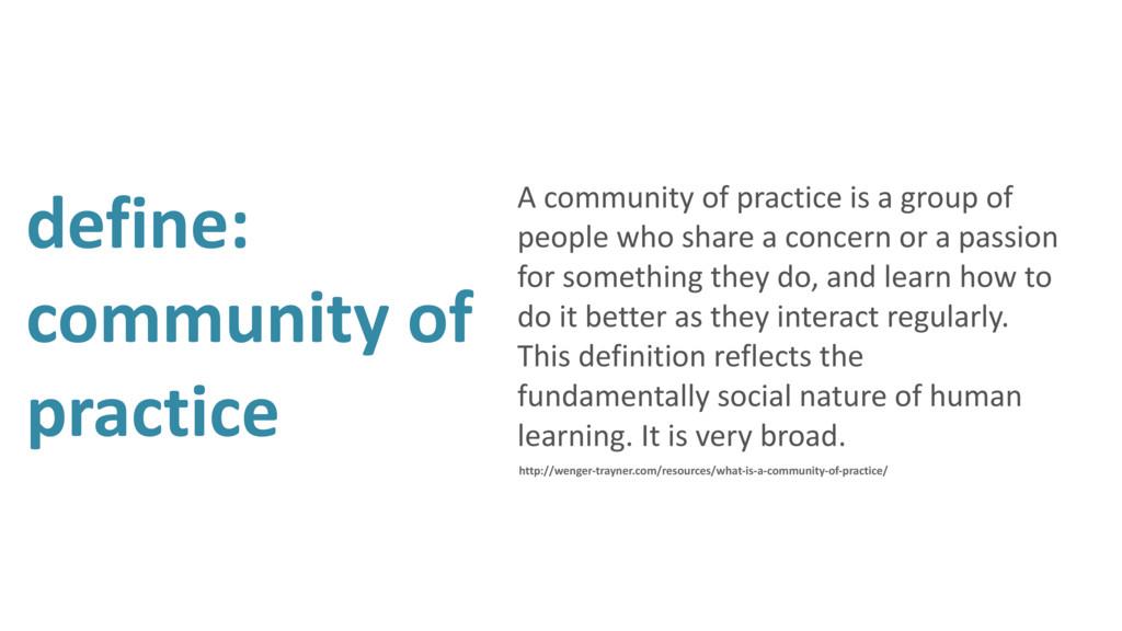 define: community of practice A community of pr...