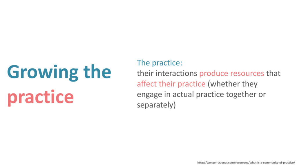 Growing the practice The practice: their inter...