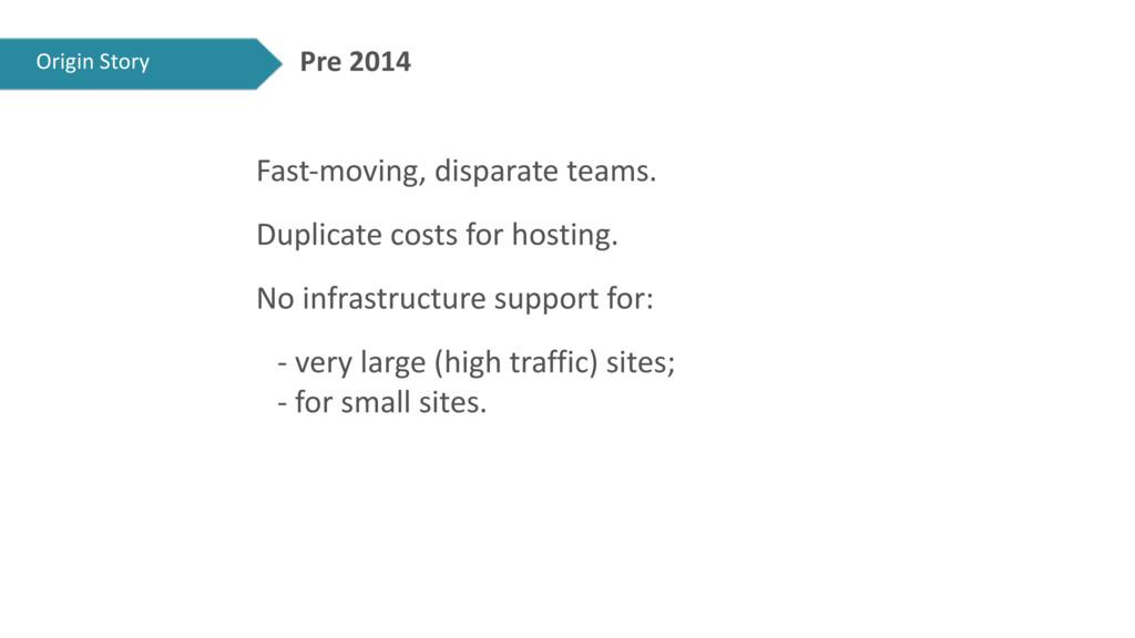 Pre 2014 Fast-moving, disparate teams. Duplicat...