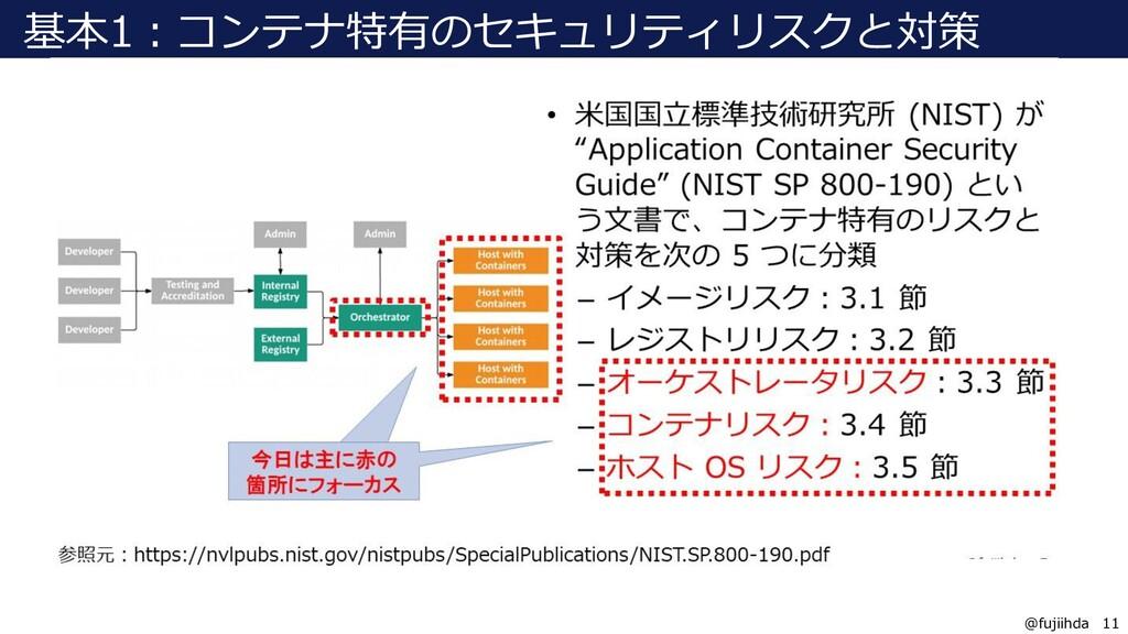 11 11 @fujiihda 基本1:コンテナ特有のセキュリティリスクと対策