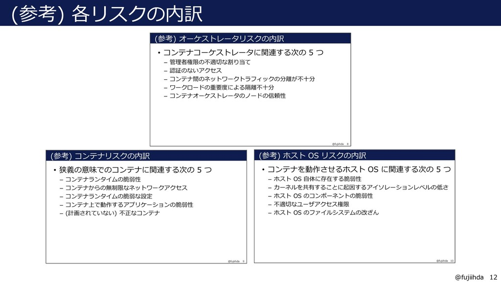 12 12 @fujiihda (参考) 各リスクの内訳